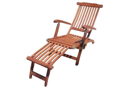 Deckchair aus Eukalyptus, inkl. abnehmbarem Fußteil, mehrfach verstellbar, braun