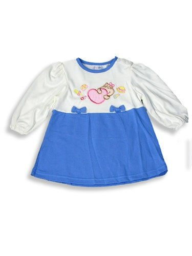 Chubby Cheeks - Infant Baby Girls Long Sleeved Dress, Cream, Periwinkle (Size 18Months)