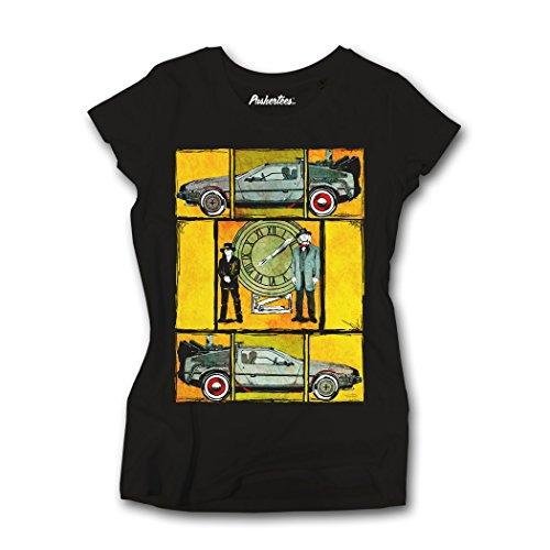 Pushertees - T-shirt maglietta donna film vintage delorean BACK TO THE FUTURE TW-BAS-18-BL-L