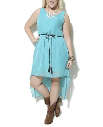 Wet Seal Women's Chiffon Lattice Back Dress 3X Jade