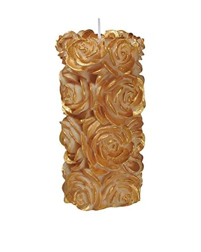 Volcanica Candles Flora Medium Pillar Candle, Ivory/Gold