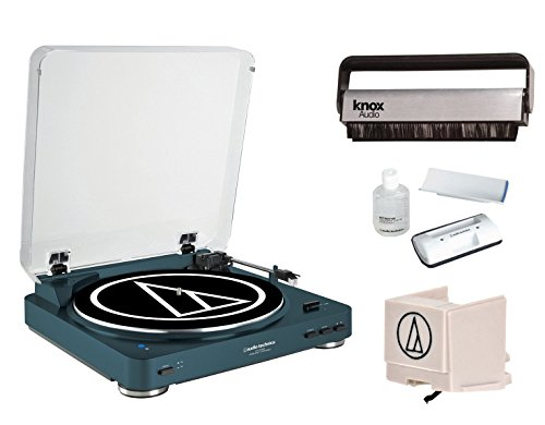 Audio-Technica-AT-LP60NV-BT-Automatic-Bluetooth-Turntable-Navy-w-Knox-Carbon-Fiber-Vinyl-Brush-Additional-ATN3600L-Stylus-AT6012-Cleaning-Kit
