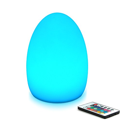 Mr.Go 8-inch LED Egg Light Nightlight Mood Lighting Lamp for Adults and Children - Remote Control - 16 RGB Colors - Bright and Dim Settings - Smooth and Flash Light Effects - Rechargeable - Fun Safe (Purple Window Shade In Auto compare prices)