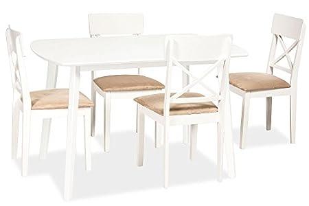 Esstisch Weiss 75x120 cm LUTON Kuchentisch Holz Esszimmertisch