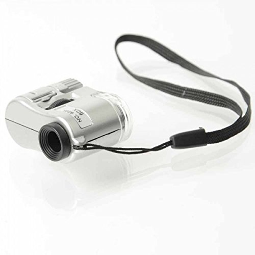 Usongs 60X Led Lights Uv Flashlight And Microscope Magnifier Silver And Black With Measuring Tape & Ballpoint Pen
