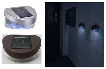 mq 4x solar zaunleuchte solar wandleuchte solarlampe licht silber oder braun mit 2 led dc808. Black Bedroom Furniture Sets. Home Design Ideas