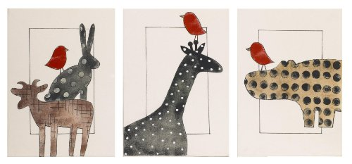 Cotton Tale Designs Animal Stackers Wall Art, Red/Black/Tan