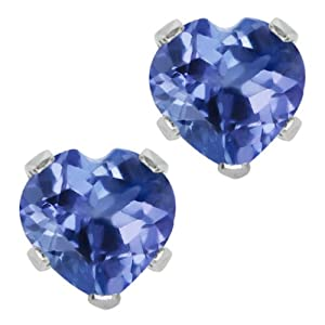 1.10 Ct Heart Shape Tanzanite Sterling Silver Stud Earrings 5MM