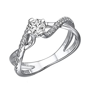 IGI Certified 14k white-gold Round Cut Diamond Engagement Ring (0.49 cttw, F Color, VS1 Clarity) - size 8
