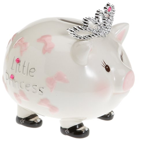 Mud Pie Baby Little Princess Tiara Piggy Bank (Discontinued by Manufacturer)
