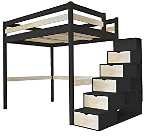 lit mezzanine sylvia 160x200 escalier cube 2 places bois noir vernis naturel. Black Bedroom Furniture Sets. Home Design Ideas