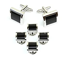 Square Silver Tone and Black Men\'s Tuxedo Cufflinks and Dress Shirt Studs Set - Classic Formal Attire