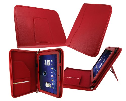rooCASE Executive Portfolio (Red) Leather Case Cover with Landscape / Portrait View for Motorola XOOM Android Tablet