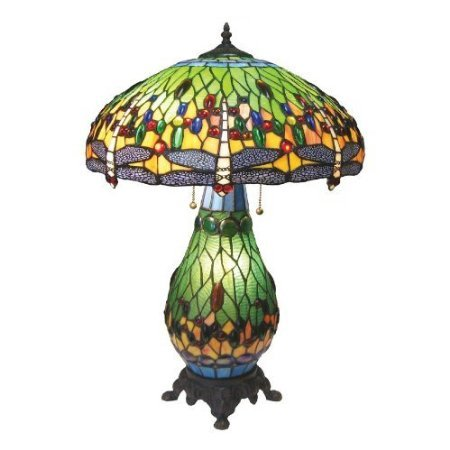 dragonfly tiffany style stained glass table lamp with lit base t18020c. Black Bedroom Furniture Sets. Home Design Ideas