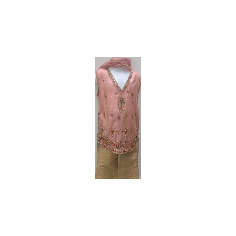 Baby Girl, Light Rose Pink and Beige, Raw Silk Hand Embroidered Sequins, Ethnic Indian Pakistani 3 Pc Shalwar/pants Kameez/shirt Kids Outfit