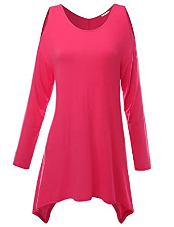 Doublju Knit Tunics in Fine Stretch Fabric PINK (US-S)