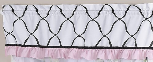 Pink, Black And White Princess Girls Window Valance By Sweet Jojo Designs front-236187