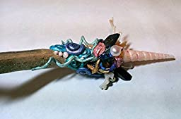 OCEAN JEWELS- Magic Crystal Energy Wand - Quartz - Willow - Shell - Genuine Pearl - Coral- Wiccan Celtic Pagan Ritual Magick