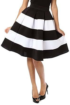 2chique boutique s stripe flare black and white midi