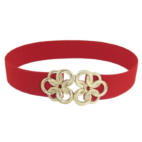 Twisted Circle Flower Buckle Stretch High Waist Belt Red for Ladies