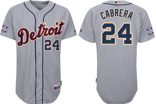Miguel Cabrera Jersey Detroit Tigers Away Grey Cool Base Jerseys with 2012 World Series Participant Patch 54