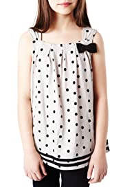 Autograph Pure Cotton Bow & Spotted Vest Top [T74-0011D-S]