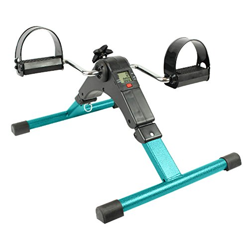 Portable Pedal Exerciser by Vive - Best Arm & Leg Exercise Peddler Machine - Low Impact Desk Cycle - Fitness Equipment for Seniors and Elderly - Folding Exercise Bike - 1 Year Guarantee (Teal) Desk Arms