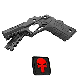 Recover Tactical BLACK CC3 Grip and Rail for 1911 style handgun - Kimber, Springfield, Ruger, Taurus, Colt, Remington, MK, Bat, Sig Sauer + RED Mini Punisher PVC Patch