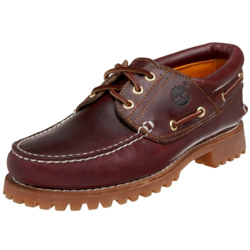 Timberland Men's 50009 Authentics 3-Eye Classic Lug Boat Shoe, Burgundy/Brown,9.5 M