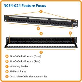 Tripp Lite Patch Panel 24-Port 1U Rackmount Cat5e Feedthrough RJ45