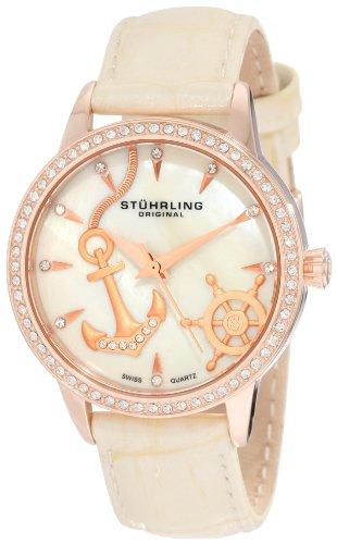 Stuhrling Original Women's 520.1145S94 Lifestyles Collection Verona Del Mar Swiss Quartz Swarovski Crystal Mother-Of-Pearl Watch