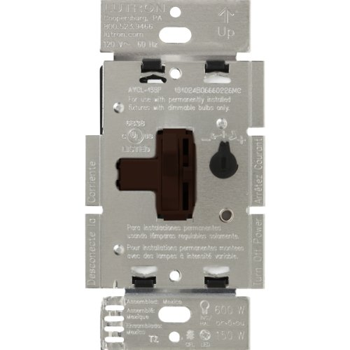 Lutron AYCL-153P-BR Ariadni/Toggler 150 Watt Single-Pole/3-Way Dimmable CFL/LED Dimmer, Brown