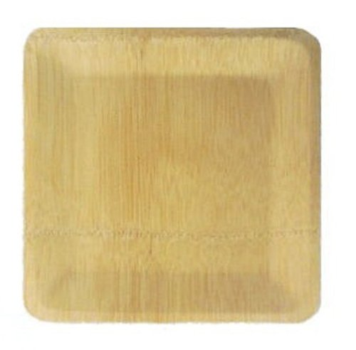 "Restaurantware Bamboo Veneer Square 9"" Plate Large 100 Count Box"