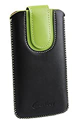 Emartbuy® Black / Green Plain Premium PU Leather Slide in Pouch Case Cover Sleeve Holder ( Size LM2 ) With Pull Tab Mechanism Suitable For Lenovo Moto G4 Play