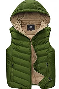 UBon Men Winter Thicken Cotton Stand Collar Outwear Vest With Hood Green Small