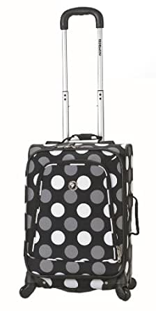 Rockland Luggage 20 Inch Printed Spinner Carry On, Black Dot, Medium
