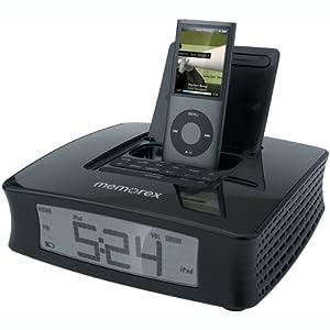 memorex clock radio with ipod dock black electronics. Black Bedroom Furniture Sets. Home Design Ideas