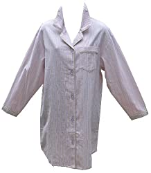RocketWear Women's Pastel Pop Pink Long Sleeve Cotton Flannel Button Front Night Shirt/Robe Large