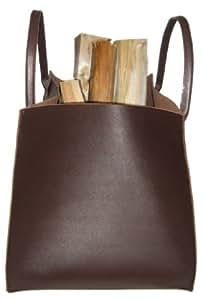 Holzkorb,Kaminholztasche, Echt Leder, braun,sehr robust