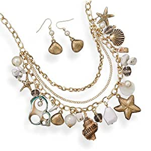Multi-charm Nautical Seashell Necklace and Earrings Jewelry Set
