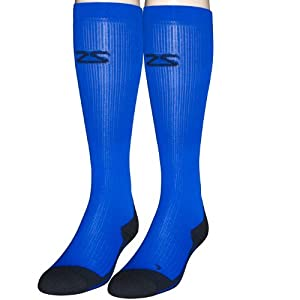 Zensah Compression Socks, Electric Blue, Large