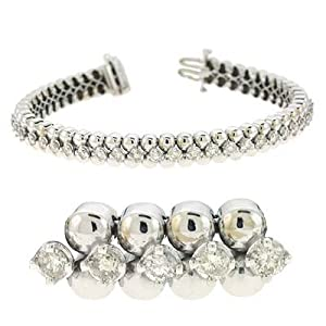 14k White Tennis 3.7 Ct Diamond Bracelet - JewelryWeb
