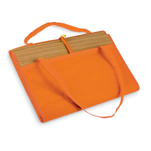 Large Straw Summer Beach Mat with Pocket - Rolls up Easy Carrying Handle (Orange)
