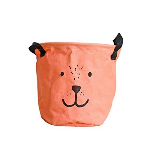 YOUJIA Petit Tissu Bac de Rangement avec Poignée Rond Boite Pliable Panier Stockage de Sous Vetement et Snacks Orange