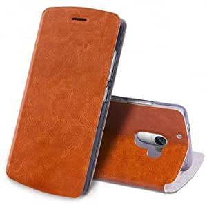 SDO™ Luxury Textured Leather Finish Wallet Style Flip Cover for Lenovo K4 Note - Brown + Clear Screen Guard