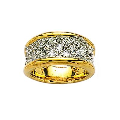Ladies 18K Gold Plated Clear Cubic Zirconia Pave Cluster Eternity Ring