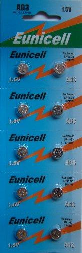Eunicell AG3 Lot de 10 piles alcaline bouton Type G3 LR41 LR41SW LR736 LR736SW SR41W 384 392
