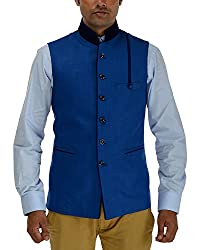 Panache Jute Men's Nehru Jacket (Blue,42)