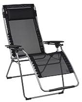 Lafuma Futura XL Zero Gravity Recliner - Grey Steel Frame with Iso Batyline® Fabric - Black