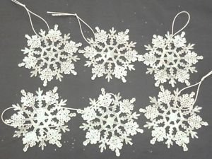 Pack of 6 9cm Snowflake Decorations For Frozen Party (PM60)